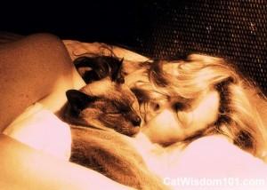 cat-woman-sleeping-bed