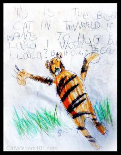 Child-art-tiger-cat-drawing