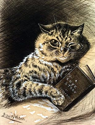 louis wain-cat reading-book