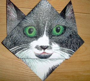 cat and crow-book mark-origami-cat