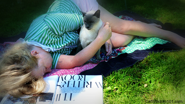cat mom in garden