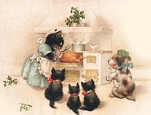 cats turkey vintage card