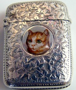 vintage cat cigarette case
