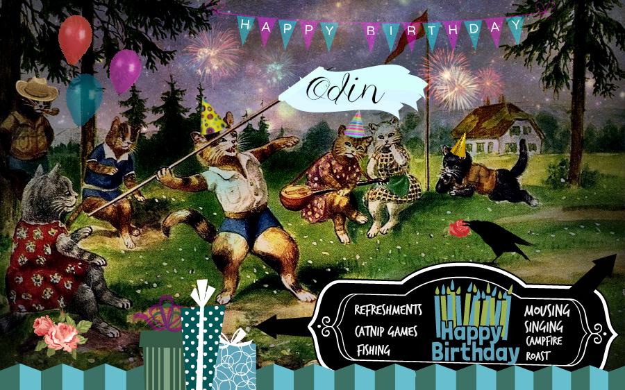 vintage cat birthday party