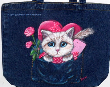 dawn weatherstone art -cat lovers valentine etsy giveaway