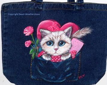 dawn weatherstone art -cat lovers valentine etsy giveaway