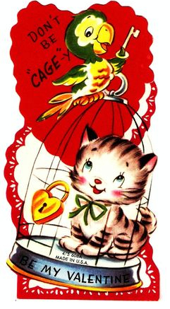 cat bird valentine vintage