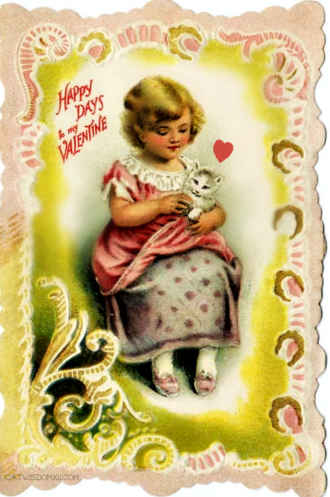 vintage cat Valentines-girl