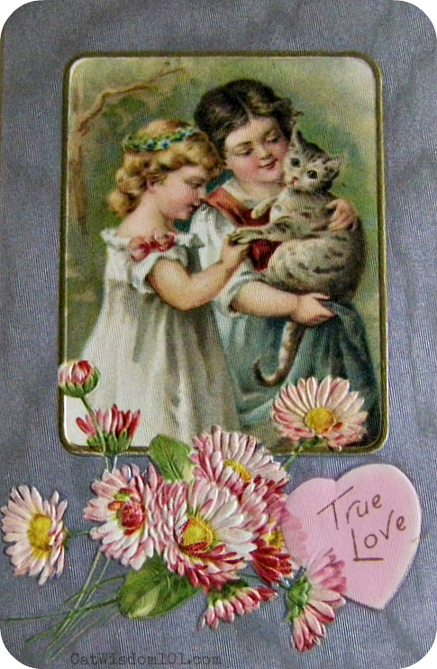 vintage cat Valentines-gray cat
