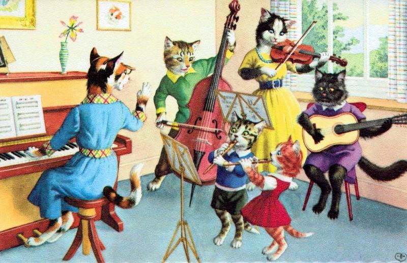 cat playing music vintage