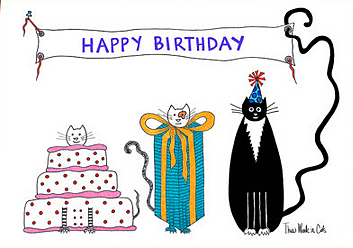 Happy birthday cats cake etsy