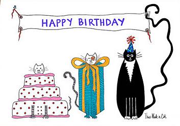 Happy birthday cats cake etsy
