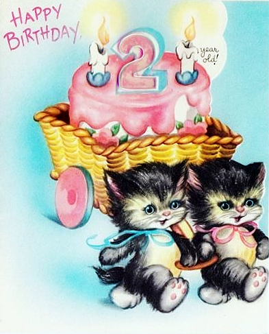 Vintage Birthday Card Cats