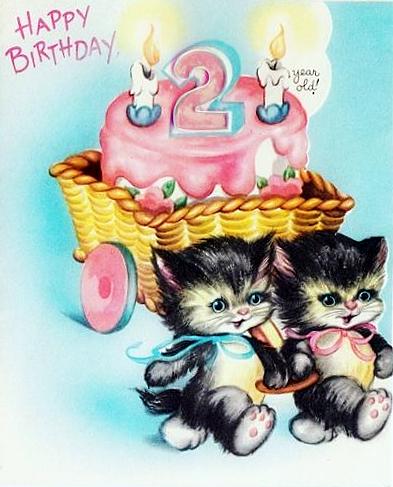 vintage birthday card cats