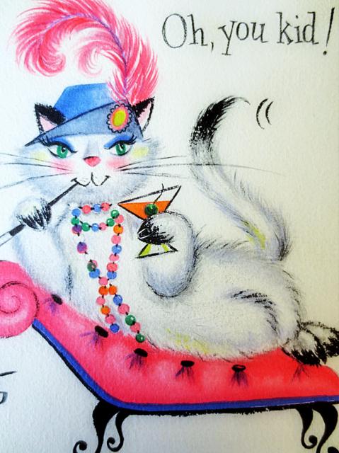 vintage cat birthday martini