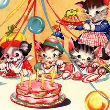 vintage cats birthday