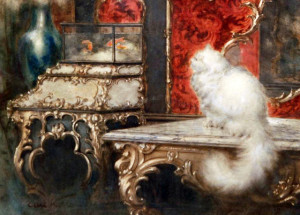 carl kahler cat painting goldfish