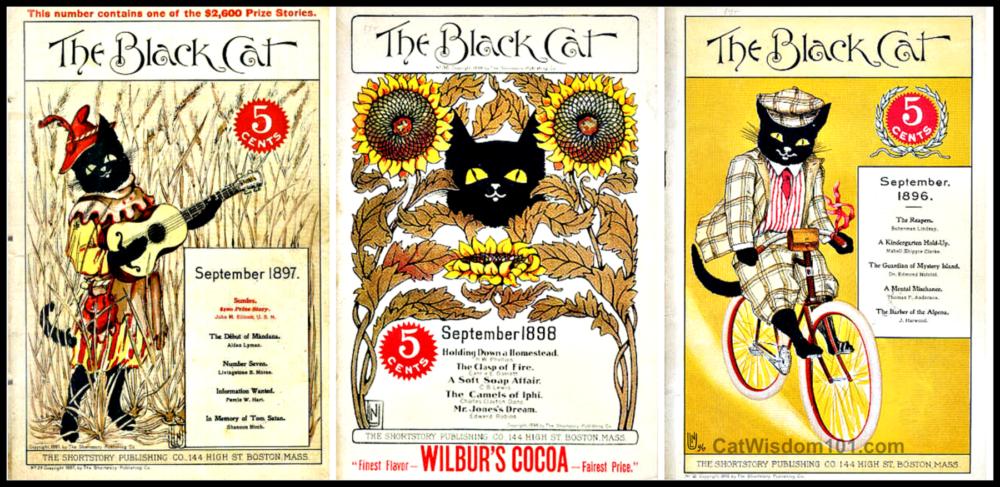 Vintage September Black Cat Art