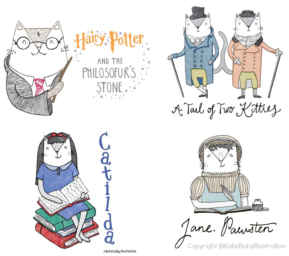 Katie Ruby Illustration_literary_cats