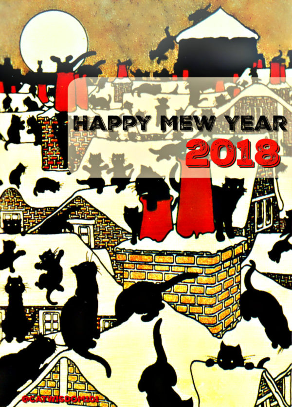 black_cats_rooftops_full_moon_new_year-e1514712965487 100 Years of New Year's Eve Cheer With Cats