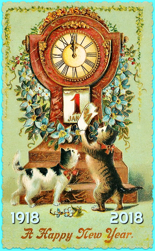 new year card vintage cat