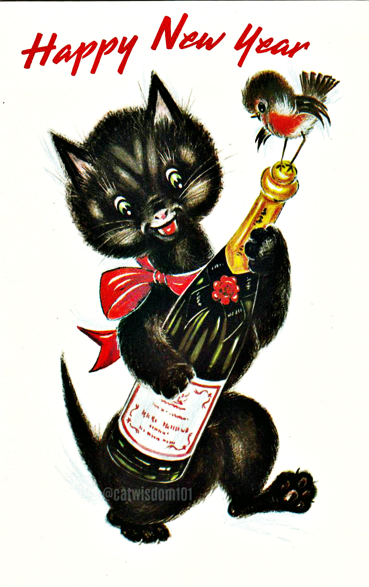 vintage-champagne-paw 100 Years of New Year's Eve Cheer With Cats