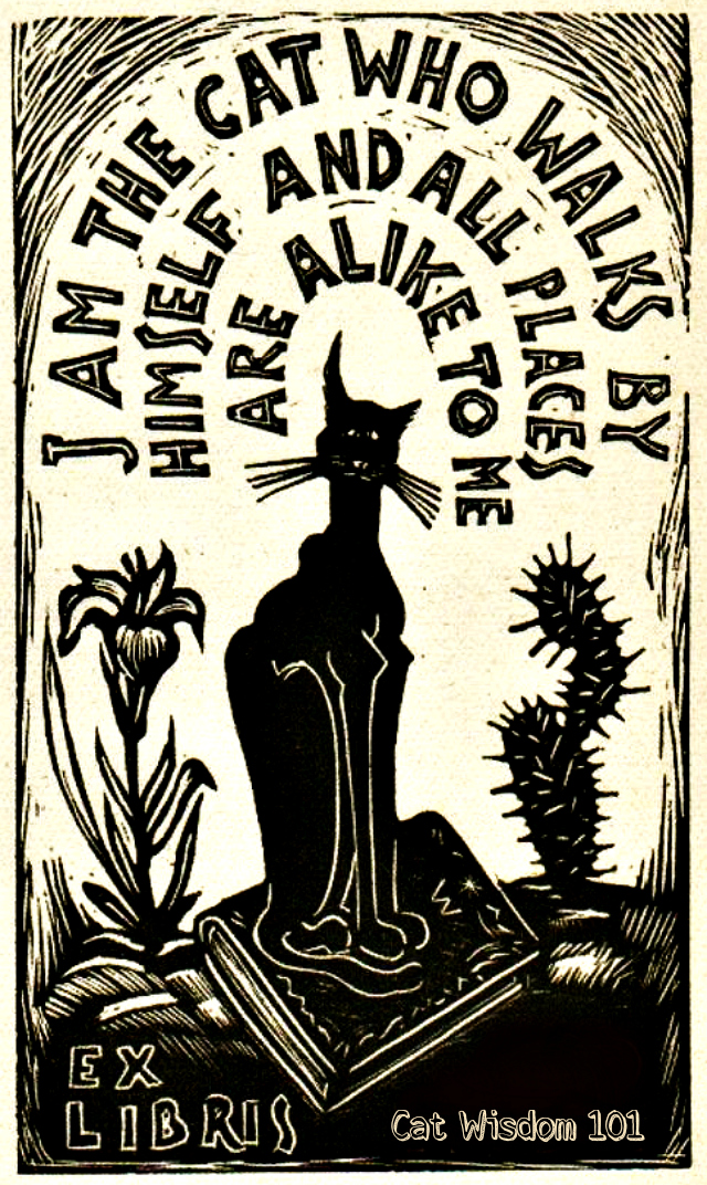 bookplate_catwisdom101_woodcut