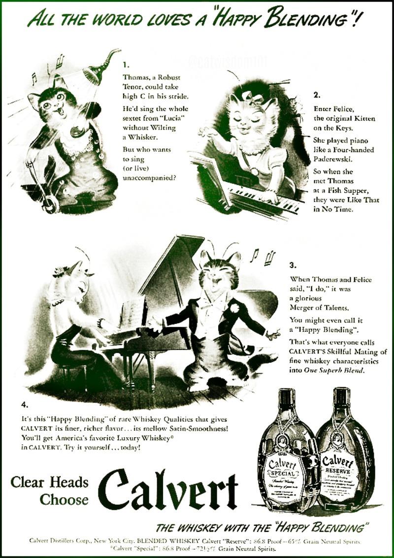Calvert__cats_Vintage-Blended-Whiskey-1942 Cat Wisdom 101 Catnip Karaoke Christmas Carols