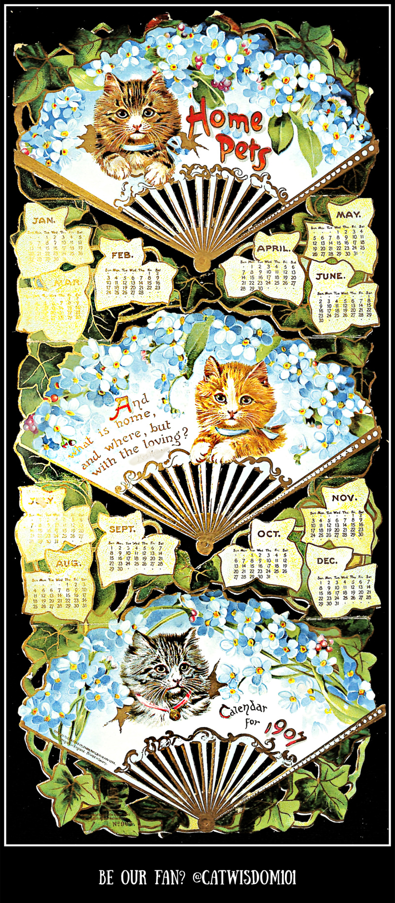 1907_fans_kittens_calendar_catwisdom101 Life Changing Super Full Moon Astrology Plus Creative Vintage Cat Calendars