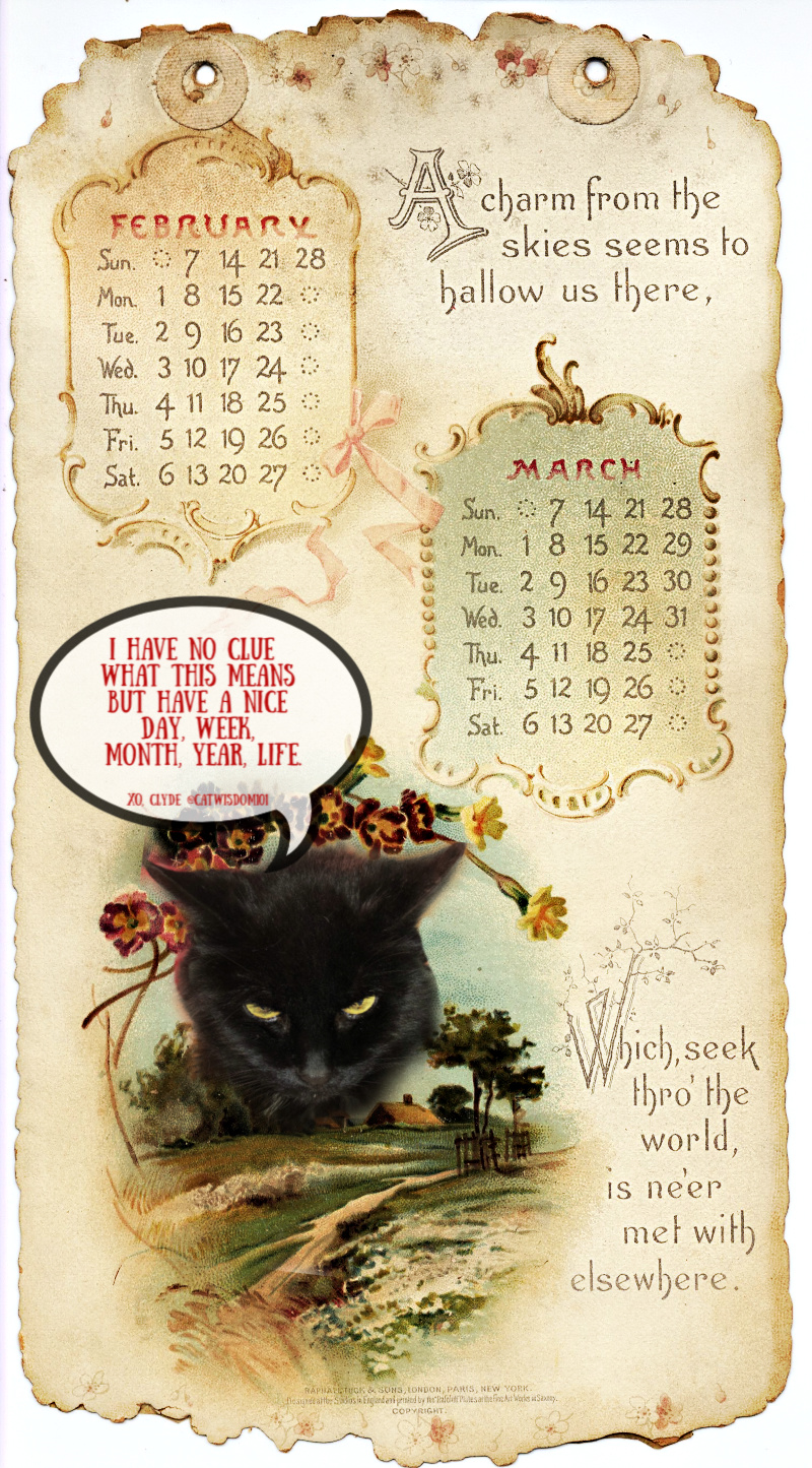 antique_february-march_calendar_catwisdom101 Life Changing Super Full Moon Astrology Plus Creative Vintage Cat Calendars