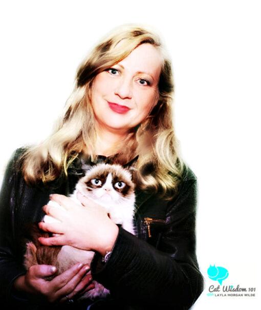 Grumpy Cat with cat expert Layla Morgan Wilde