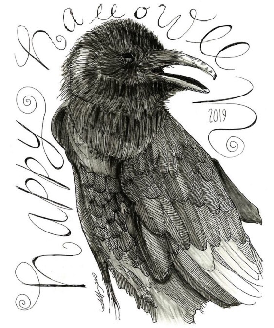 pen and ink illustration of a Halloween raven by Greg King