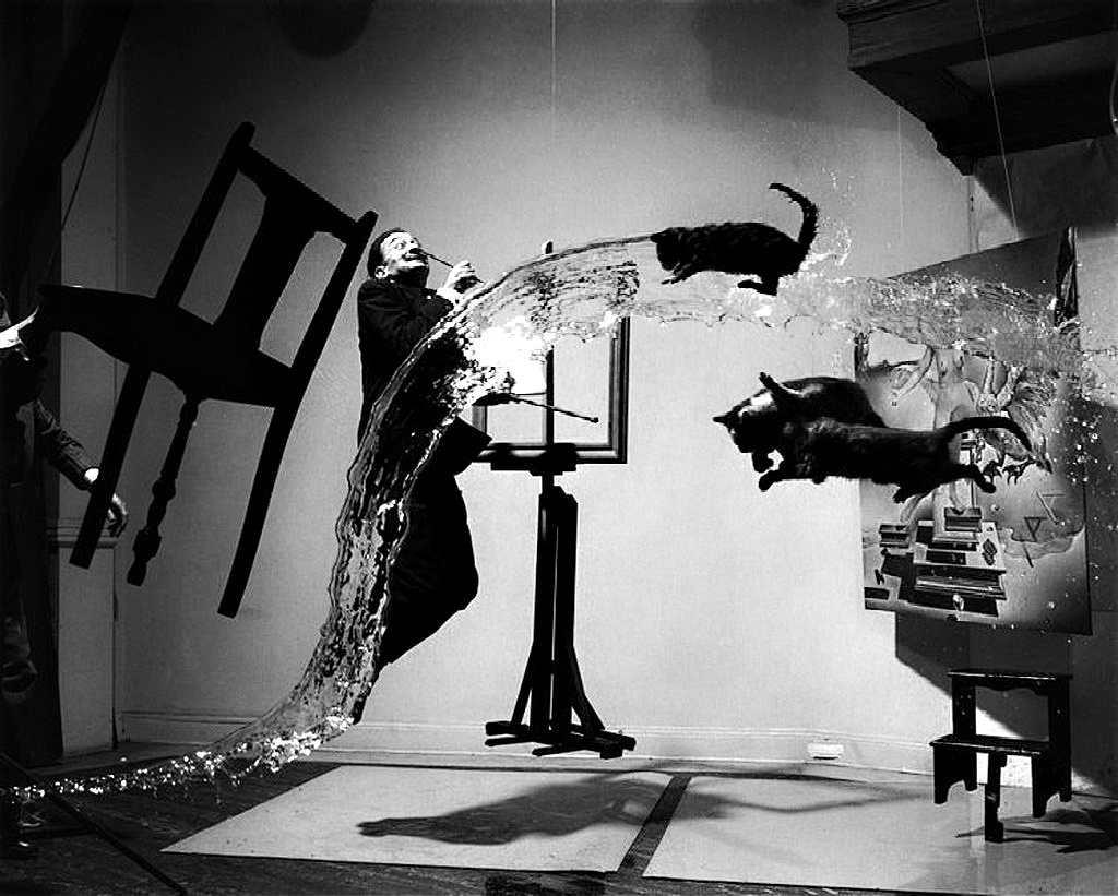 Salvador Dali-Philippe-Halsman with black cats