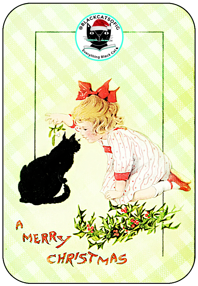 vintage black cat with girl christmas card